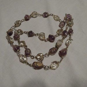 """Vintage NECKLACE Amethyst crystal Wire Wrapped 25"""""""